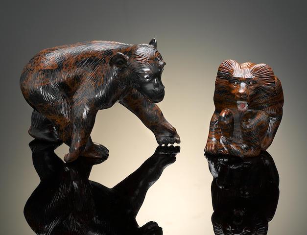 Sculptures en obsidienne brune acajou