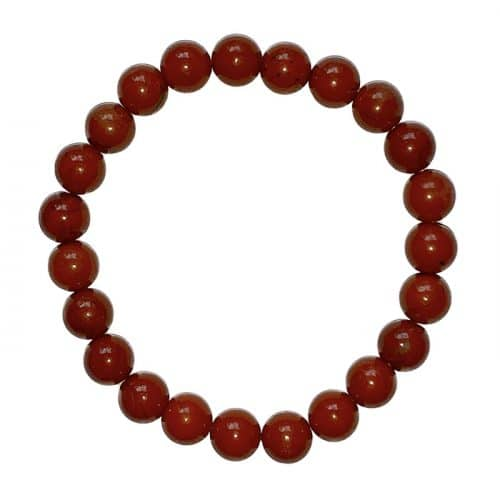 Jaspe Rouge - Bracelet Boule 8mm  Boutique de Minéraux